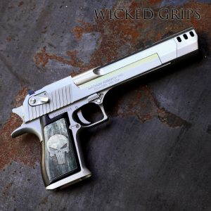 """CUSTOM DESERT EAGLE PISTOL GRIPS FULL METAL PUNISHER Custom Desert Eagle pistol grips FULL METAL PUNISER is shown mounted on a stainless US made model in .50AE Our Full Metal Punisher art was created in house by artist Kade Strange. We then use our new proprietary process to bond the art permanently to our a machined aluminum panels. This new process is stronger than our anodizing. Our process is chemical and UV resistant with brighter colors and more crisp detail. FITMENT: Our grips will fit the """"Made in USA"""" Desert eagle guns as well as the older models from Israel. These grips are for the fullsize Desert Eagle handguns.. not the smaller """"Baby Eagle"""" pistols."""