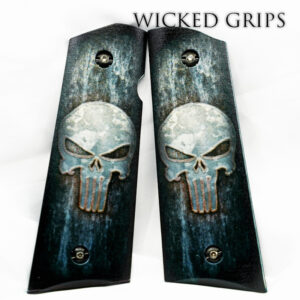 CUSTOM 3D 1911 PISTOL GRIPS FULL METAL PUNISHER SKULL