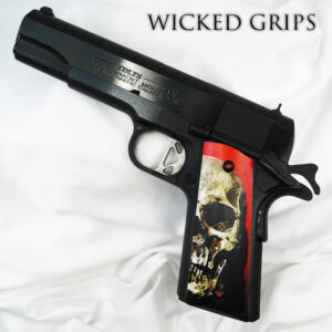 CUSTOM 1911 PISTOL GRIPS RED SKULL v2