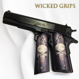 CUSTOM 1911 GRIPS FULL METAL PUNISHER SKULL