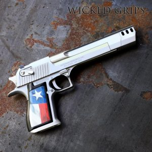 """CUSTOM DESERT EAGLE PISTOL GRIPS TEXAS FLAG V2 Our Texas Flag v2 art was created in house by artist Kade Strange. We then use our new proprietary process to bond the art permanently to our a machined aluminum panels. This new process is stronger than our anodizing. Our process is chemical and UV resistant with brighter colors and more crisp detail. There are differences in frames over the decades, as well as between the IMI guns made in Israel to the USA made guns made in Minnesota. We took this into account, spending untold hours in prototyping what we feel is a set of grips the equal in quality of engineering and ARTISTIC DESIGN worthy of such an Iconic gun. A long time in coming.. finally Desert Eagle owners have a true choice in BAD ASS accessories for their BAD ASS Handguns! FITMENT: Our grips will fit the """"Made in USA"""" Desert eagle guns as well as the older models from Israel. These grips are for the fullsize Desert Eagle handguns.. not the smaller """"Baby Eagle"""" pistols."""