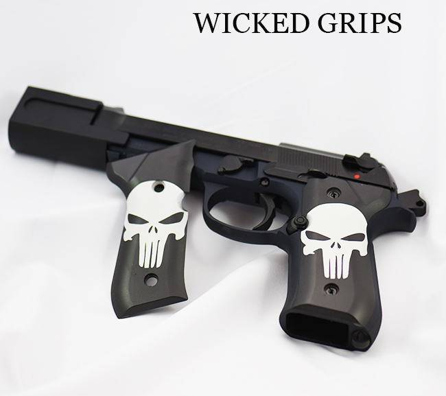 BERETTA 92FS CUSTOM GRIPS CERAKOTE CLASSIC PUNISHER - Wicked Grips | Custom  Handgun Pistol Grips