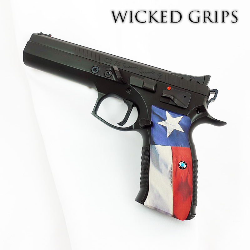 CZ-75 CUSTOM PISTOL GRIPS TEXAS FLAG V2