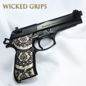 "CUSTOM BERETTA 92FS GRIPS ""BLACK LACE"""