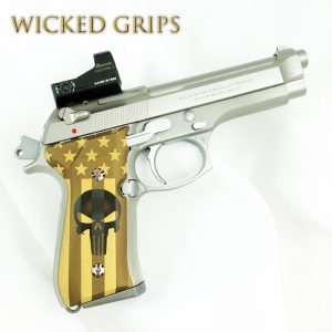 BERETTA 92FS CUSTOM GRIPS CERAKOTE BURNT BRONZE FLAG PUNISHER