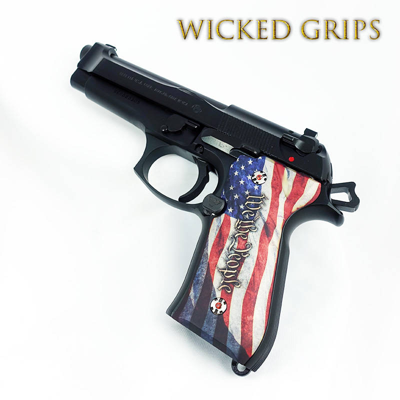 CUSTOM BERETTA 92FS GRIPS WE THE PEOPLE VER 4