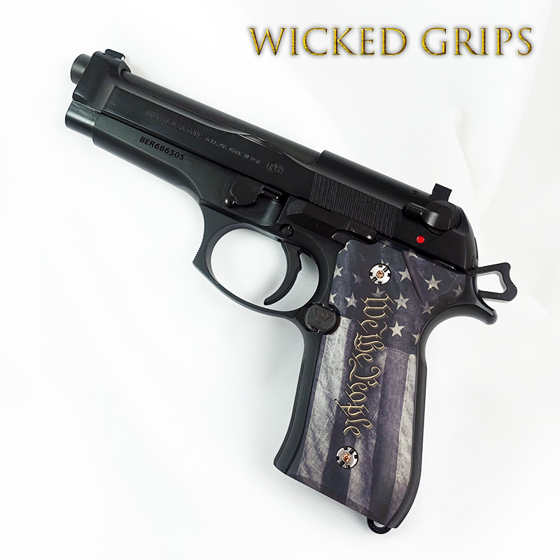 CUSTOM BERETTA 92FS GRIPS WE THE PEOPLE VER 5