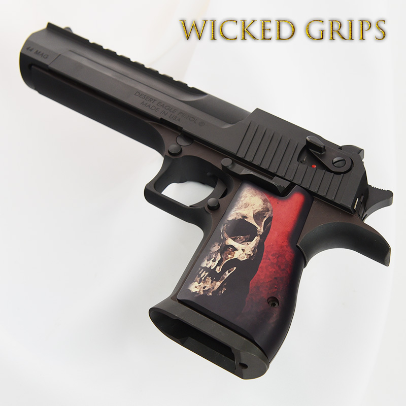 CUSTOM DESERT EAGLE GRIPS RED SKULL v2