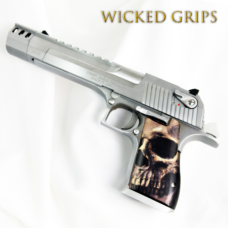 "CUSTOM DESERT EAGLE GRIPS ""FULL SKULL FACE"""