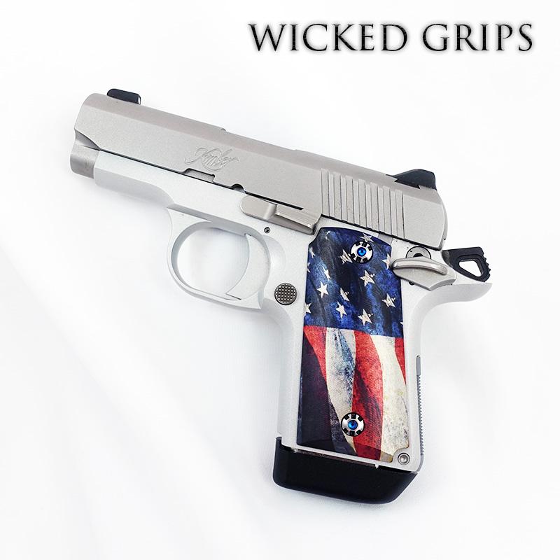 KIMBER MICRO 9MM CUSTOM PISTOL GRIPS AMERICAN FLAG V2