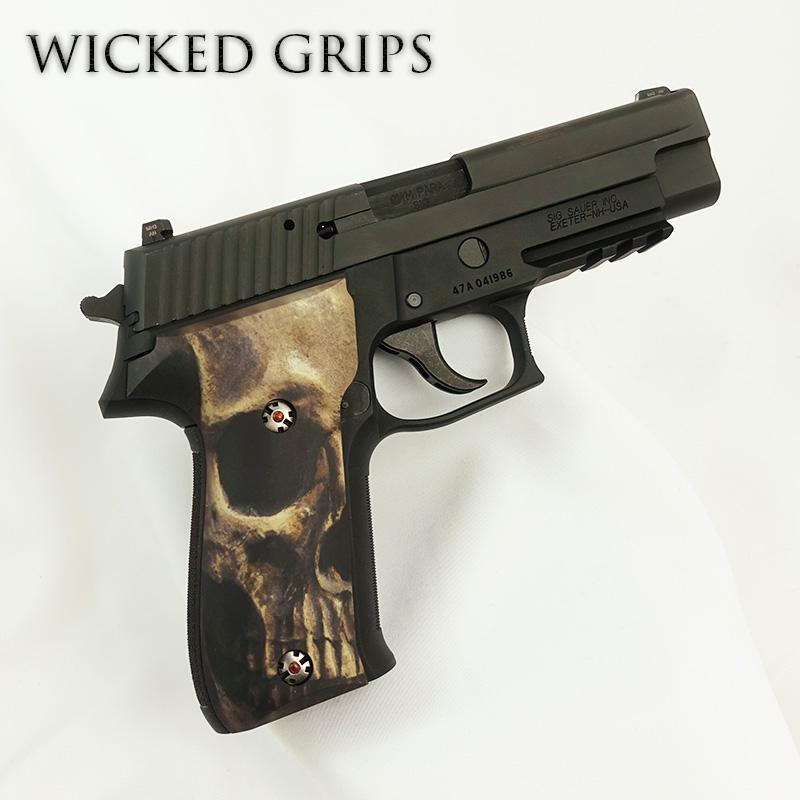 CUSTOM SIG SAUER P226 GRIPS FULL SKULL FACE