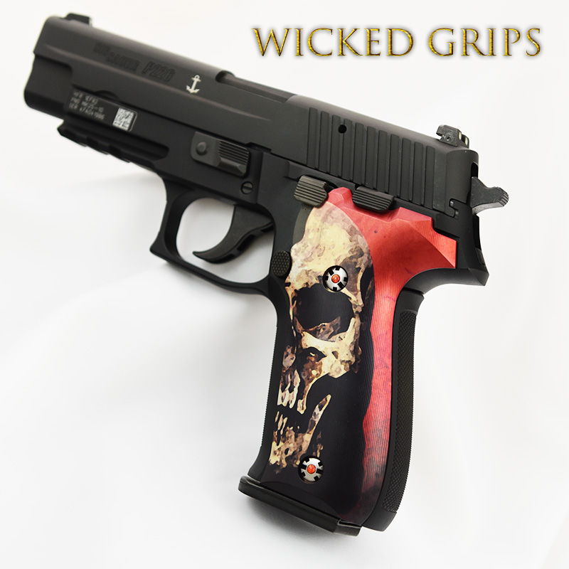 CUSTOM SIG SAUER P226 PISTOL GRIPS RED SKULL V2