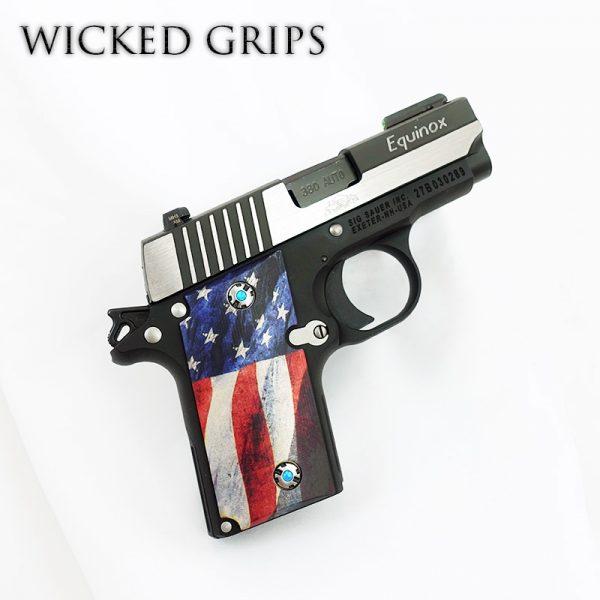 SIG SAUER P238 CUSTOM PISTOL GRIPS AMERICAN FLAG V2
