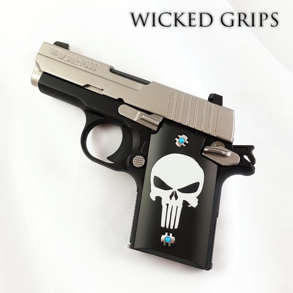 SIG 938 CUSTOM GRIPS CLASSIC PUNISHER CERAKOTE