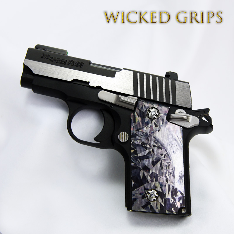 "SIG SAUER P238 CUSTOM GRIPS ""BLACK DIAMOND"""