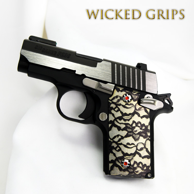"SIG SAUER P238 CUSTOM GRIPS ""BLACK LACE 2"""