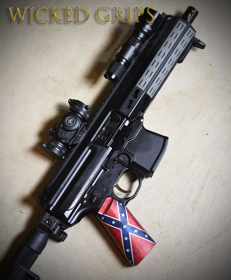 CUSTOM AR-15 PISTOL GRIP DIXIE FLAG