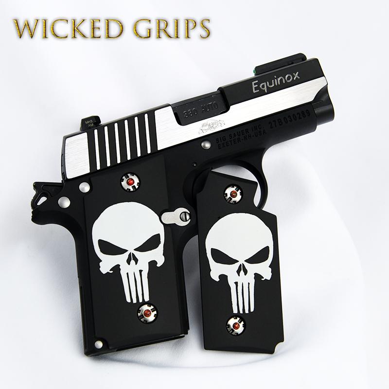 SIG SAUER P238 CUSTOM GRIPS CLASSIC PUNISHER CERAKOTE - Wicked Grips    Custom Handgun Pistol Grips