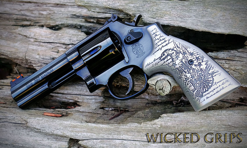 S&W K L AND X FRAME CUSTOM REVOLVER GRIPS ENGRAVED 3% EAGLE