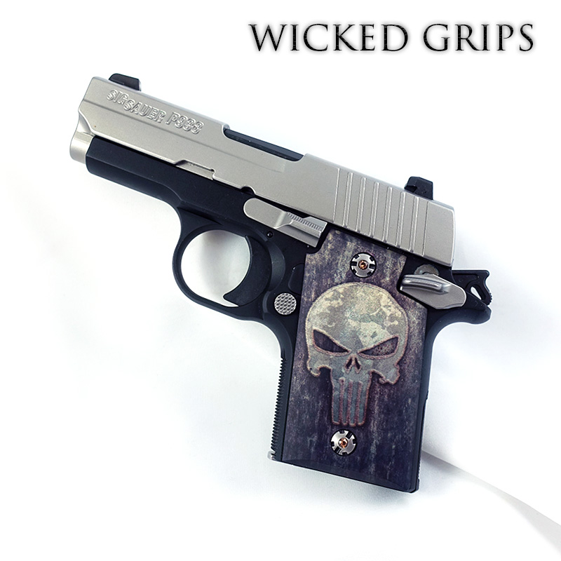 CUSTOM SIG SAUER P938 GRIPS FULL METAL PUNISHER