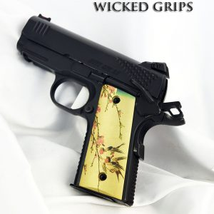 THIN 1911 OFFICERS COMPACT PISTOL GRIPS JAPANESE BIRDS