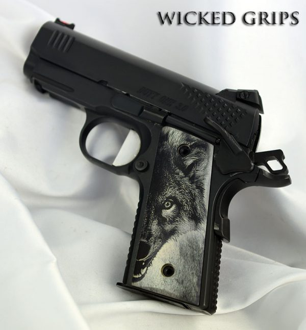 CUSTOM THIN 1911 OFFICERS COMPACT PISTOL GRIPS WOLF