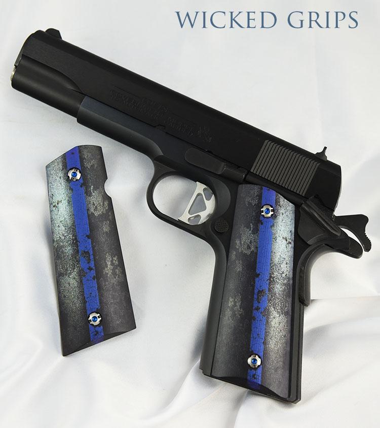 Custom 1911 Grips Thin Blue Line Wicked Grips Custom Handgun