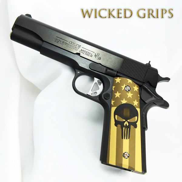 1911 CUSTOM GRIPS CERAKOTE BURNT BRONZE FLAG PUNISHER