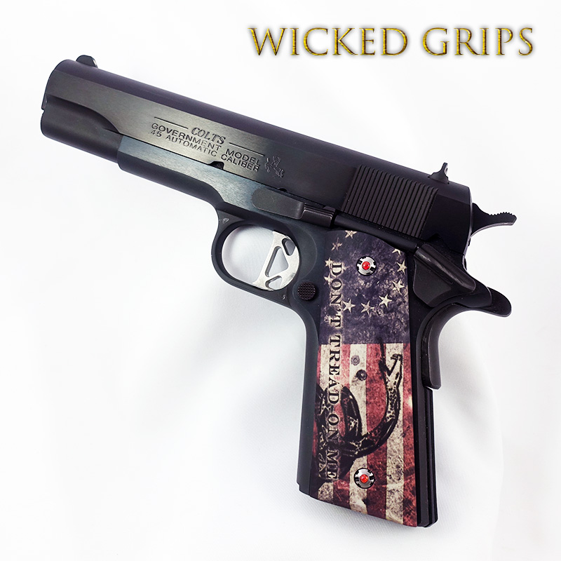 "CUSTOM 1911 GRIPS GRAPHIC ART ""DONT TREAD ON ME"""