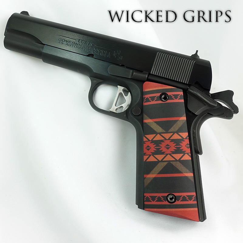 CUSTOM 1911 THIN PISTOL GRIPS SOUTHWEST RED