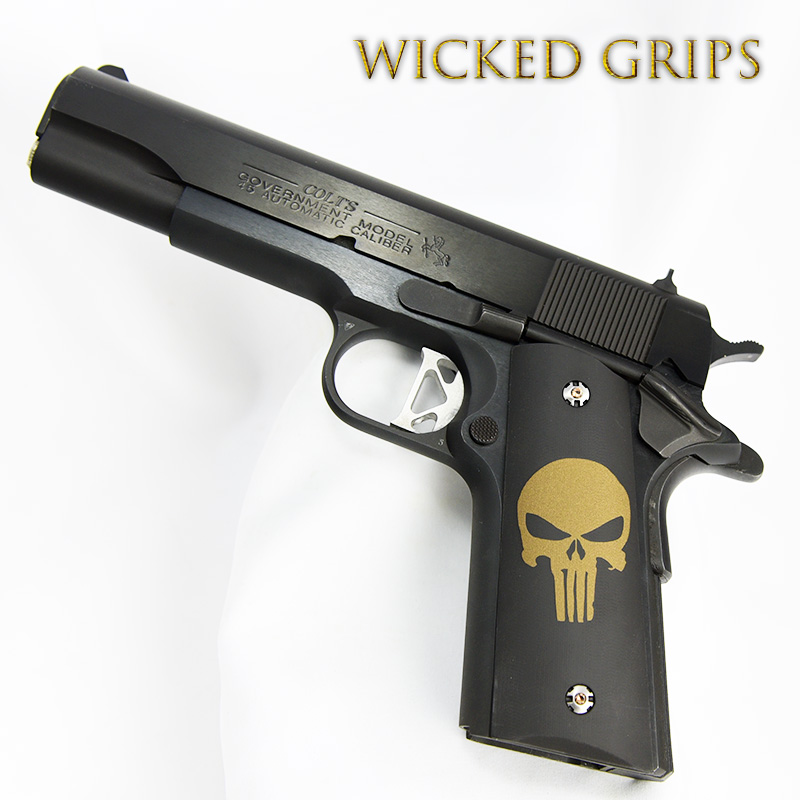 1911 CUSTOM GRIPS BRONZE PUNISHER CERAKOTE