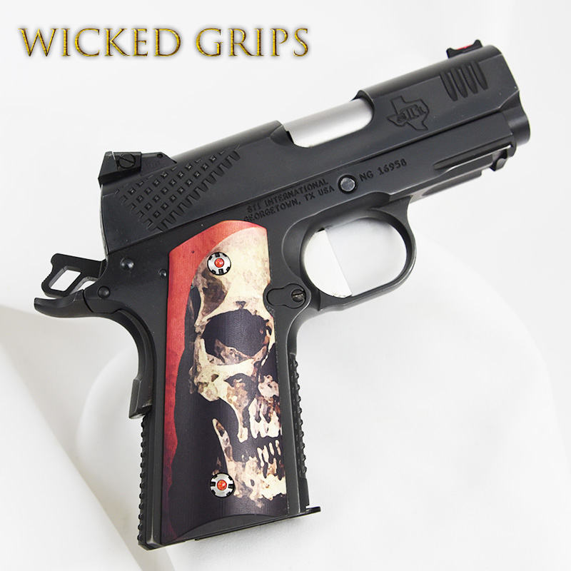 1911 COMPACT OFFICERS MODEL GRIPS RED SKULL V2