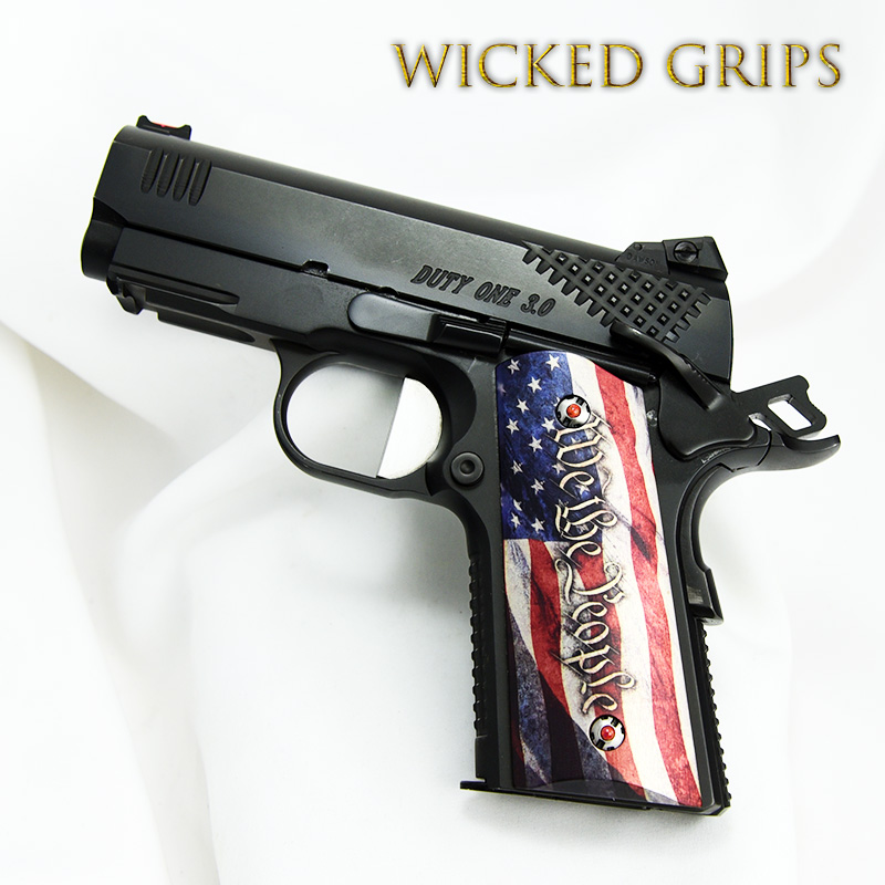 1911 COMPACT OFFICERS MODEL GRIPS WE THE PEOPLE V4