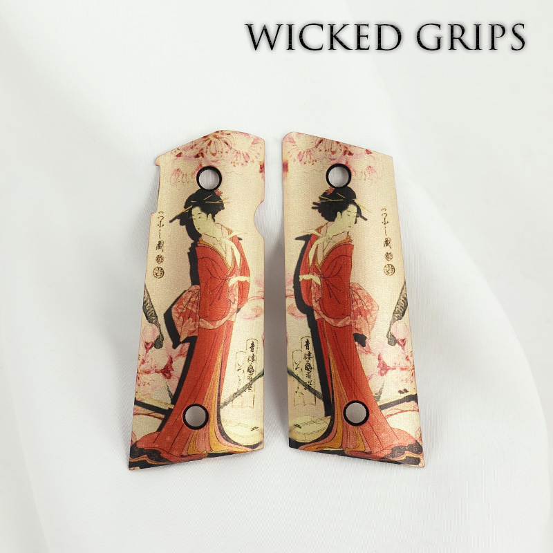 CUSTOM THIN 1911 OFFICERS COMPACT PISTOL GRIPS GEISHA