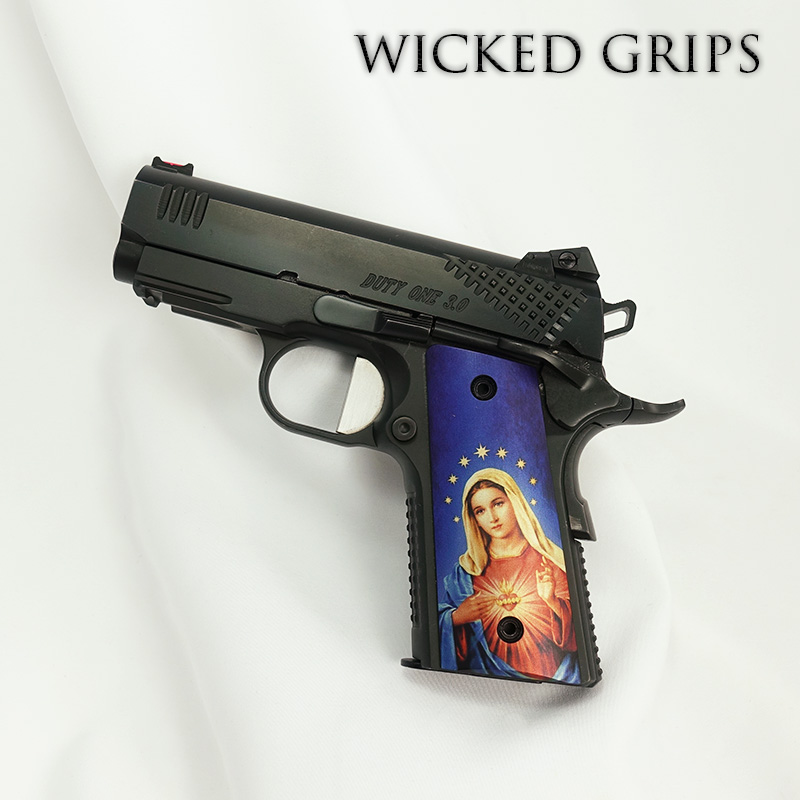 CUSTOM THIN 1911 OFFICERS COMPACT PISTOL GRIPS MARY V3