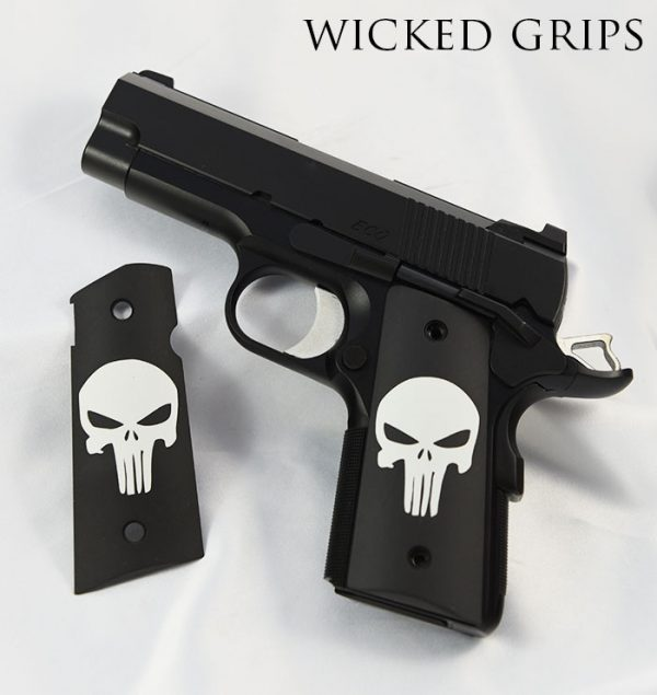1911 OFFICERS COMPACT THIN GRIPS CLASSIC PUNISHER CERAKOTE