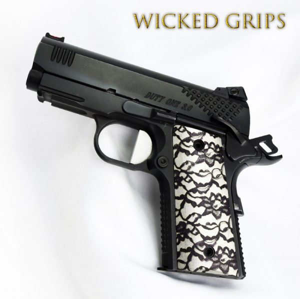"CUSTOM 1911 OFFICERS COMPACT THIN GRIPS ""BLACK LACE 2"""