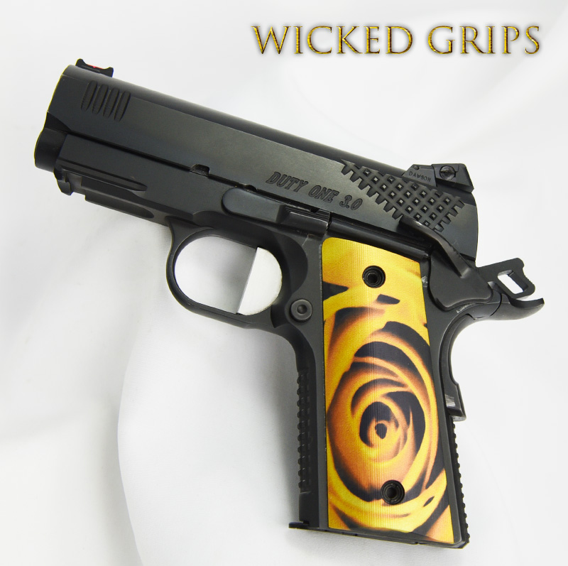 """1911 OFFICERS COMPACT THIN GRIPS """"YELLOW ROSE"""""""