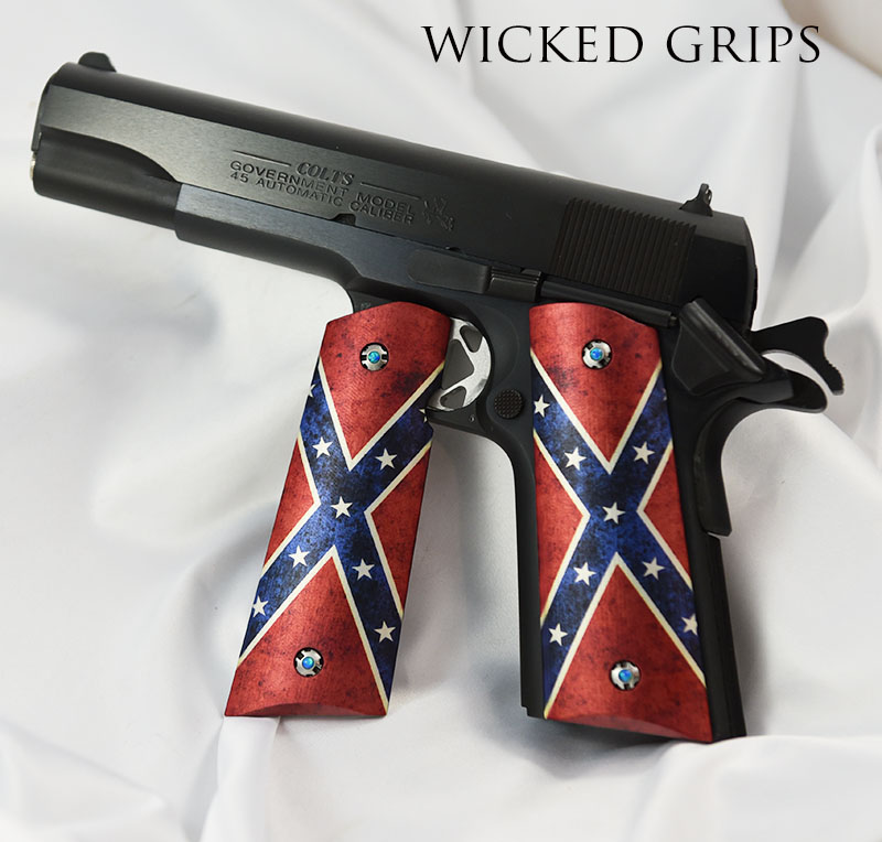 CUSTOM 1911 PISTOL GRIPS DIXIE FLAG