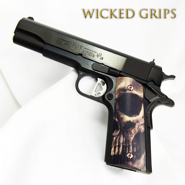 "CUSTOM 1911 GRIPS GRAPHIC ART ""FULL SKULL FACE"" LIMITED SERIES"