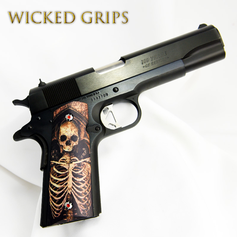 "CUSTOM 1911 GRIPS GRAPHIC ART ""GOTHIC SKELETON"" LIMITED SERIES"