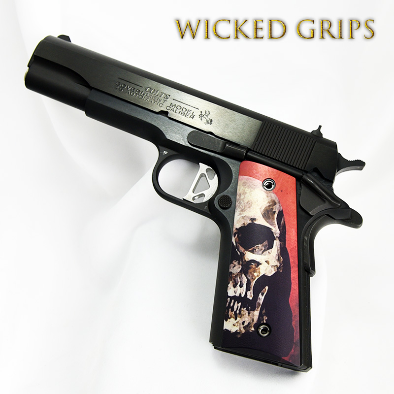 CUSTOM 1911 THIN PISTOL GRIPS RED SKULL v2