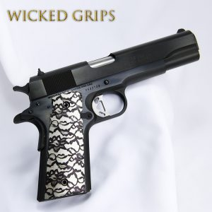 "CUSTOM 1911 THIN GRIPS ""BLACK LACE VERSION 2"""