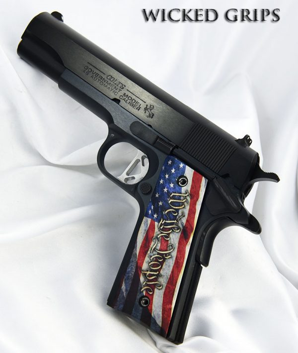 CUSTOM 1911 PISTOL GRIPS THIN WE THE PEOPLE VER 4