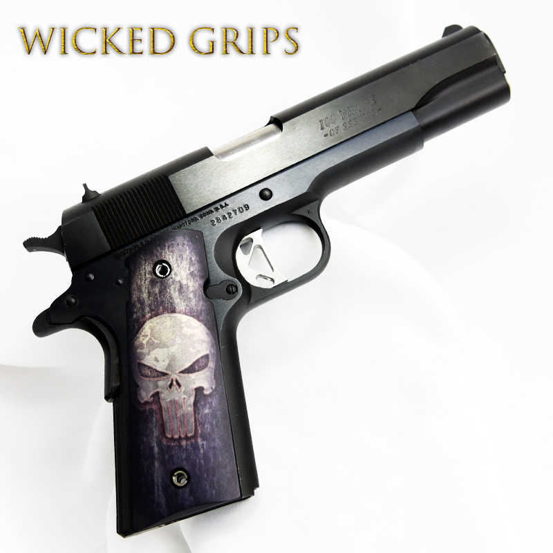 CUSTOM 1911 THIN PISTOL GRIPS FULL METAL PUNISHER