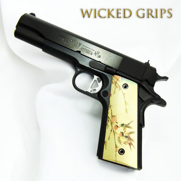 CUSTOM 1911 THIN PISTOL GRIPS JAPANESE BIRDS