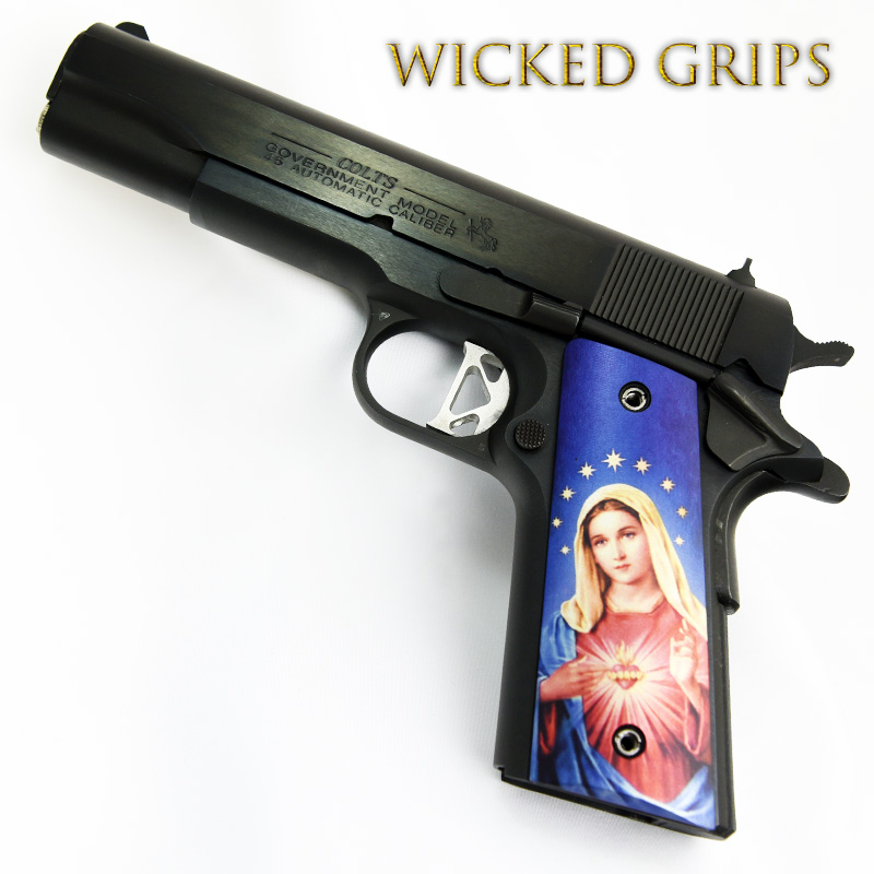 CUSTOM 1911 PISTOL GRIPS THIN MARY V3