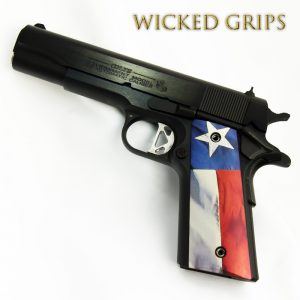 CUSTOM 1911 THIN PISTOL GRIPS TEXAS FLAG V2