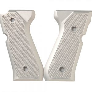 ALUMAGRIPS BERETTA 92FS TACTICAL CHECKERED PISTOL GRIPS SILVER