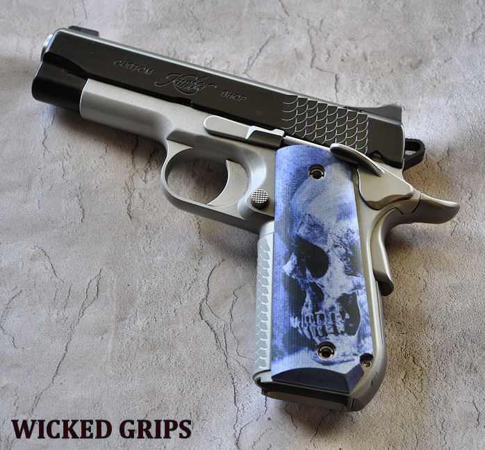 Custom 1911 Bobtail Grips Blue Skulls Wicked Grips Custom